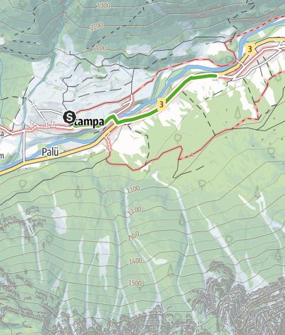 """Karte / Fotoweg """"mit Giacometti unterwegs """""""