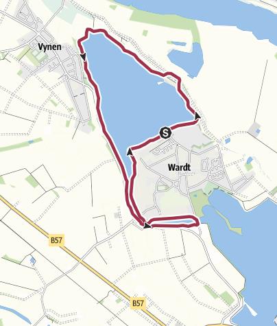 Map / Wanderroute 2: Um die Xantener Nordsee