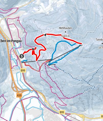 Karte / Skitourenroute Monte Popolo Eben