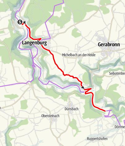 Karte / Kocher-Jagst-Radweg - Umleitung Elpershofen - Hürden über Binselberg - Langenburg