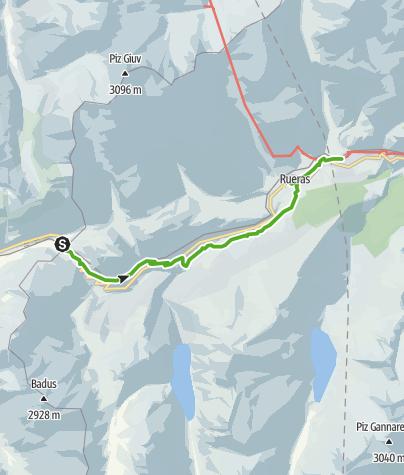 Karte / Rheinwanderung: Oberalppass - Sedrun