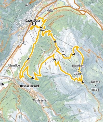 Karte / Jakobshorn Ischalp-Abfahrt