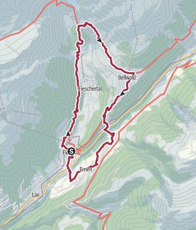 Map / Circular hike via Aspi-Titter suspension bridge and Goms-Bridge
