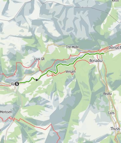 Karte / Etappe 6: Rheinwanderung: Ilanz - Reichenau