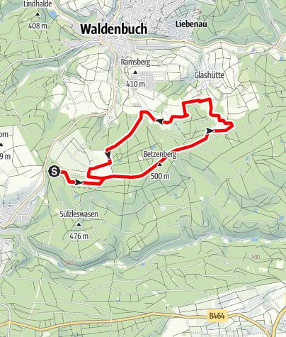Karte / Nordroute des Herzog-Jäger-Pfad Waldenbuch