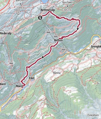 Map / Hike from Bettmeralp to Mörel-Filet via Betten Dorf