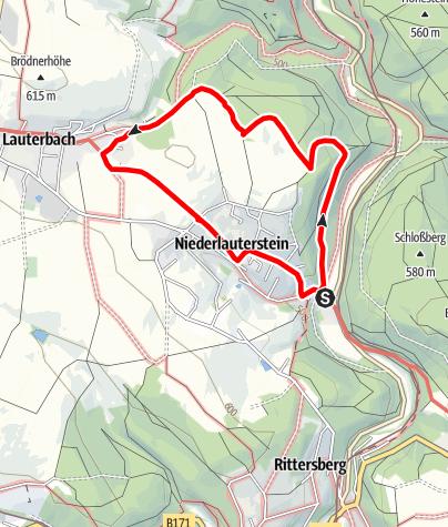 Karte / Von der Burgruine Niederlauterstein nach Lauterbach