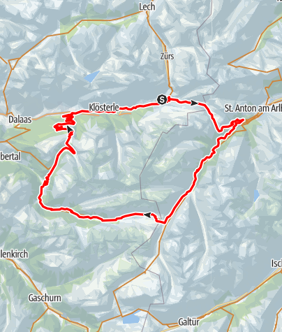 Karte / Stuben - St. Anton - Konstanzer Hütte - Silbertal - Sonnenkopf - Stuben