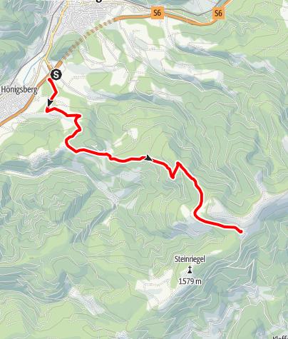 Karte / Windpark Pretul: Von Mürzzuschlag über den Bärenkogel zum Roseggerhaus