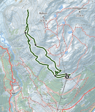 Map / Hike to the glacier viewpoint from Bellwald