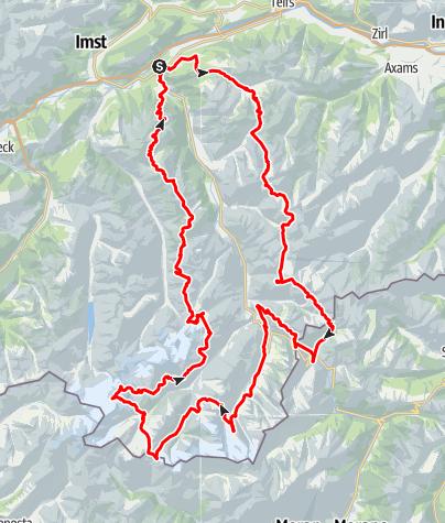 Kaart / Ötztal trek - Hoge hutten diepe dalen