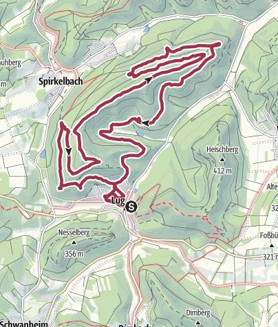 Karte / Spirkelbacher Höllenberg-Tour: Lug - Friedrichsfelsen - Höllenfelsen - Ochsenbornquelle - Klingelkopf - Ferkelsteine - Lug