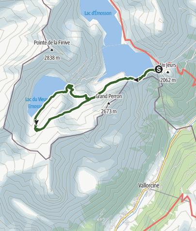 Karte / Geologische Wanderung zum Stausee Vieux-Emosson