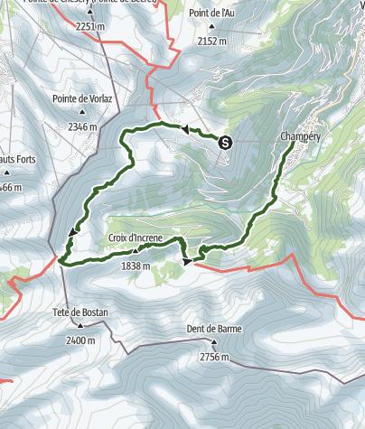 Karte / Von Croix de Culet über den Col de Cou nach Champéry