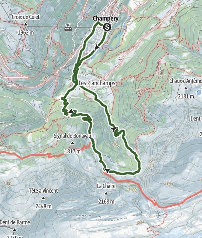 Karte / Rundwanderung Roc Coupé – Bonavau – Champéry