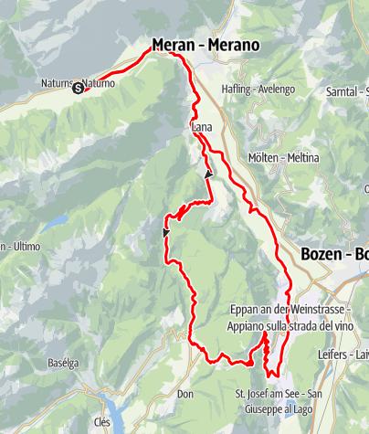 Mappa / Biciletta da corsa - Tour Passo Mendola