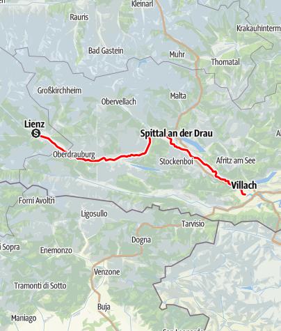 Karte / Draupaddelweg - Abschnitt West, Drautal