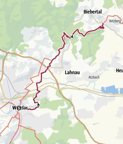 Karte / Lahnwanderweg 10. Etappe flussaufwärts Wetzlar - Rodheim-Bieber