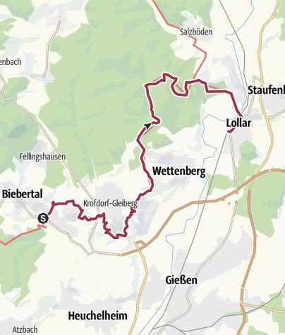 Karte / Lahnwanderweg 09. Etappe flussaufwärts Rodheim-Bieber - Lollar