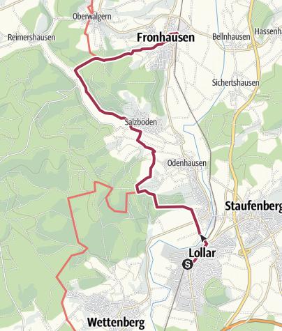 Karte / Lahnwanderweg 08. Etappe flussaufwärts Lollar - Fronhausen
