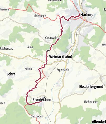Karte / Lahnwanderweg 07. Etappe flussaufwärts Fronhausen - Marburg