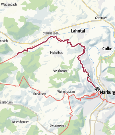 Karte / Lahnwanderweg 06. Etappe flussaufwärts Marburg - Caldern