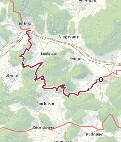 Karte / Lahnwanderweg 05. Etappe flussaufwärts Caldern - Buchenau