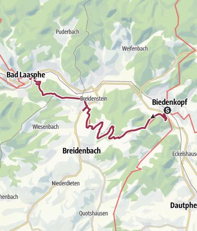 Karte / Lahnwanderweg 03. Etappe flussaufwärts Biedenkopf - Bad Laasphe
