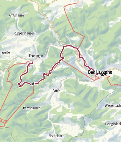 Karte / Lahnwanderweg 02. Etappe flussaufwärts Bad Laasphe - Feudingen