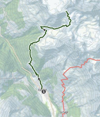 Map / Tour du Val d'Hérens: Evolène to Cabane Becs de Bosson (stage 4)