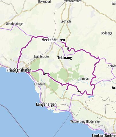 Karte / Von Friedrichshafen in die Tettnanger Natur mit Hopfen und Hauskapelle