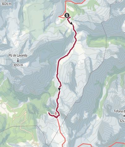Map / Rifugio Fanes to Rifugio Scotoni