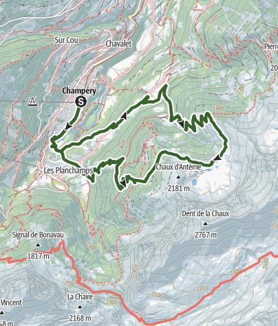 Karte / Rundwanderung zu den Lacs d'Antème