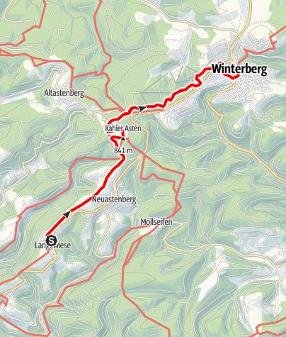 Karte / ÖPNV-Tour: Auf dem Rothaarsteig von Langewiese nach Winterberg