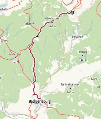 Karte / ÖPNV-Tour: Auf dem Rothaarsteig von Hoheleye nach Bad Berleburg