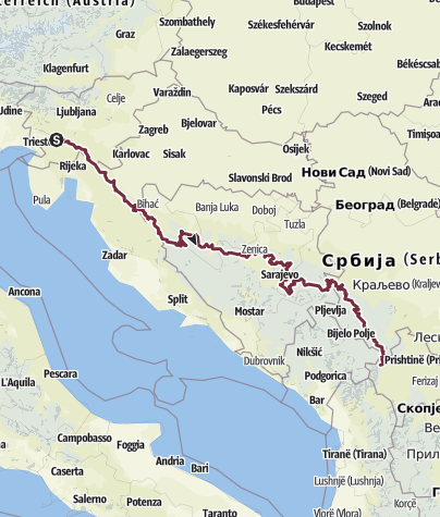 Map / EVA's Via Dinarica Green Trail from Slovenia to Kosovo ('17 & '18)
