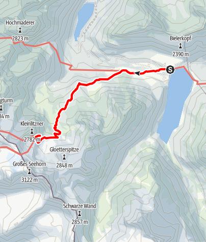 Karte / Zustieg Saarbrücker Hütte von der Bieler Höhe