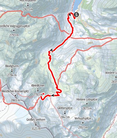 Karte / Zustieg Saarbrücker Hütte vom Vermuntstausee