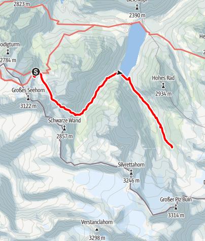 Map / Übergang Saarbrücker Hütte zur Wiesbadener Hütte