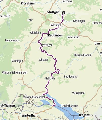 Karte / Hohenzollern-Radweg Etappe Hechingen-Schömberg