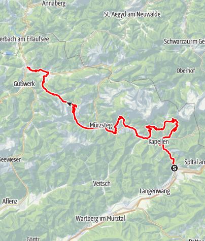 Karte / BergRadlWallfahrt auf der ehemaligen Alpentour im Naturpark Mürzer Oberland