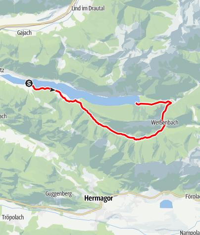 Karte / Bodenalm - Ostufer - mit dem Schiff zurück - Weissensee