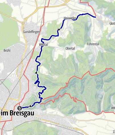 Karte / Breisgauer Weinweg 1. Etappe Freiburg nach  Föhrental Kreuz Glottertal