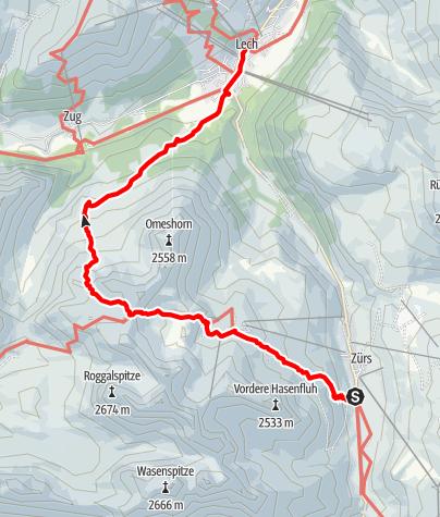 Karte / Zürs-Zürsersee-Madlochjoch- Lech