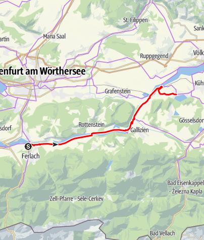 Karte / Via Carinzia, 2. Etappe: Ferlach - Klopeiner See