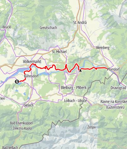 Karte / Via Carinzia, 3. Etappe: Klopeiner See - Lavamünd