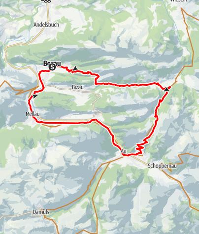 Karte / Bezau   Bezau - Schönenbach - Ostergunten - Au