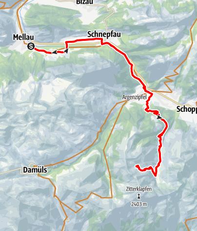 Karte / Mellau | Mellau - Au - Bergkristallhütte - (Annalpe)