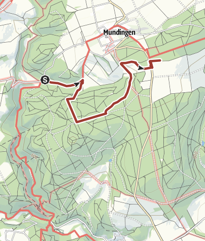 "Karte / Besinnungsweg Teilstück 9 / 3 km: Parkplatz Wolfstal Richtung Mundingen ""Landgericht"""