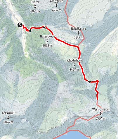 Map / Hüttschlag: Kreealmen - Murtörl - Schmalscharte - Schwarzseen
